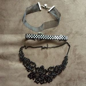Lot of 3 black chokers from Topshop & Zara